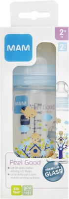 MAM Feel Good Glasflaska 260 ml i gruppen BARNAPOTEKET / Amning hos Tandshopen.se ZupperWorld AB (759392)